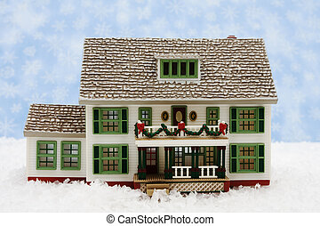 Christmas Eve - House with Christmas decorations on snow ...