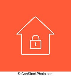 House with closed lock line icon.