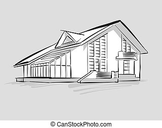 House with conservatory sketch. Concept Illustration, Hand...