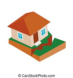 House with crack in the ground icon