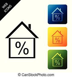 House with discount tag icon on white background. House percentage sign price. Real estate home. Credit percentage symbol. Money loan symbol. Set icons colorful square buttons. Vector Illustration
