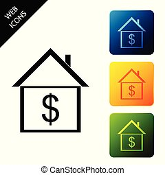 House with dollar icon isolated on white background. Home and money. Real estate concept. Set icons colorful square buttons. Vector Illustration