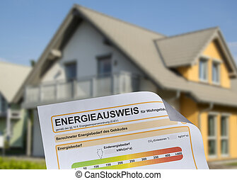 """House with energy pass showing the german word """"..."""