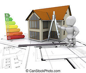 House with energy rating - 3D render of a house on plans ...