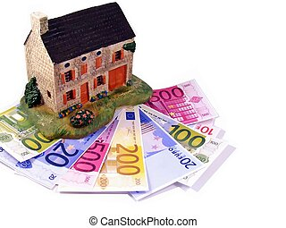 House with euro money notes - A family house on a pile of...