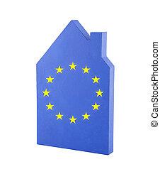House with European Union flag