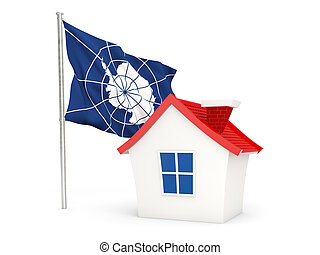 House with flag of antarctica