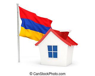 House with flag of armenia