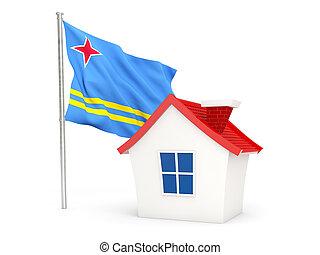 House with flag of aruba