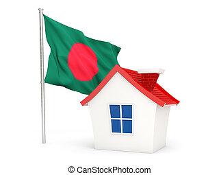 House with flag of bangladesh