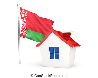 House with flag of belarus