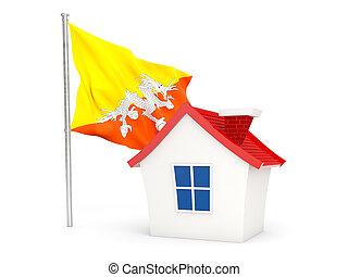 House with flag of bhutan