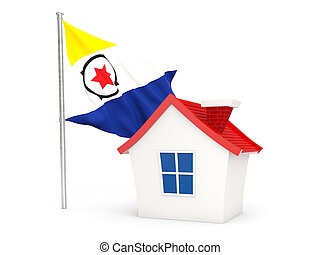 House with flag of bonaire isolated on white