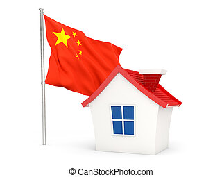 House with flag of china