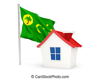 House with flag of cocos islands