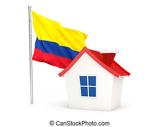 House with flag of colombia