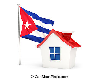 House with flag of cuba