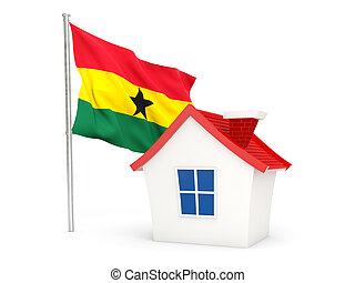 House with flag of ghana