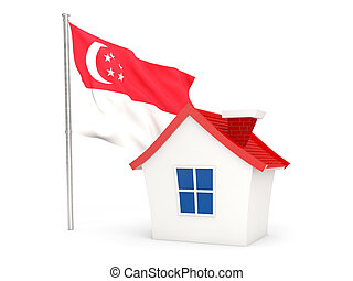 House with flag of singapore