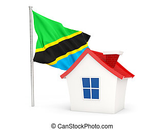 House with flag of tanzania