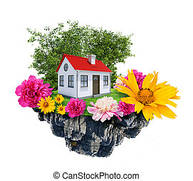House with flowers stands on flying island