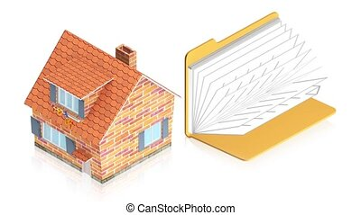 House with folder - 3D animation of a simple objects for use...