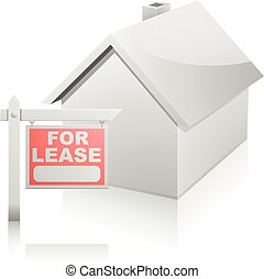 House with For Lease Sign