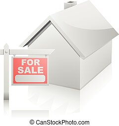 House with For Sale Sign