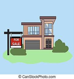 House with For Sale Sign. Picture. Real Estate Sign to advertise a house listing. Basic Sign Sold in front of a modern House.