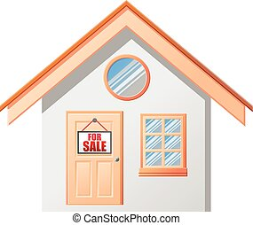 House with for sale sign vector