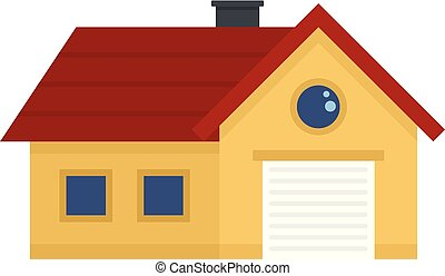 House with garage icon, flat style