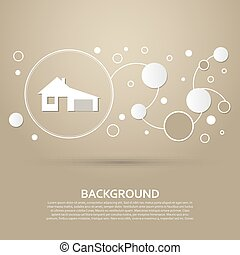 house with garage icon on a brown background  elegant style and modern design infographic. Vector