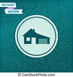 house with garage icon on a green background,  arrows in different directions. It appears  the electronic board. Vector