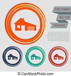 house with garage icon on the red, blue, green, orange buttons for your website and design  space text. Vector