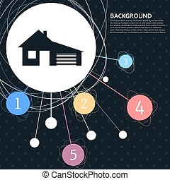 house with garage icon  the background to the point and  infographic style. Vector