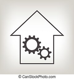 House with gear wheels
