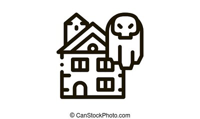 house with ghosts Icon Animation. black house with ghosts animated icon on white background