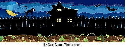 Halloween night scene