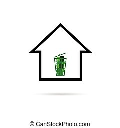 house with green basket vector