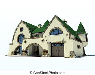 house with green roof on white background 3D rendering 2
