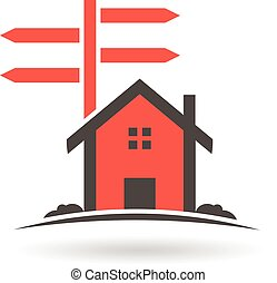 House with guide posts for sale logo. Vector graphic design