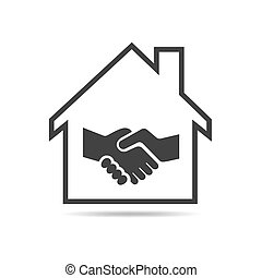 House with handshake icon. Vector illustration. - Icon...