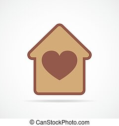 House with heart inside. Vector illustration