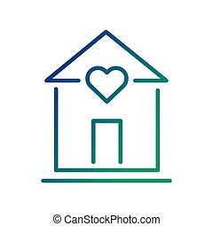 house with heart line style icon