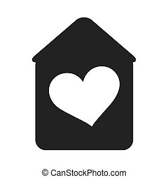 house with heart shape inside