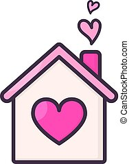 House with hearts inside.