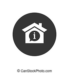 House with info mark inside icon. Vector