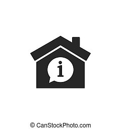 House with info mark inside icon. Vector illustration