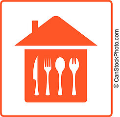 house with kitchen table cutlery