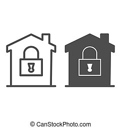 House with lock line and solid icon, smart home concept, House under protection vector sign on white background, home security system icon in outline style for mobile and web design. Vector graphics.